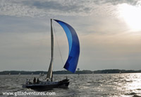 annapolis sailboat race, sailboat with blue spinnaker