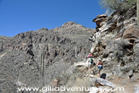 canyon wall with trail, sabino west fork