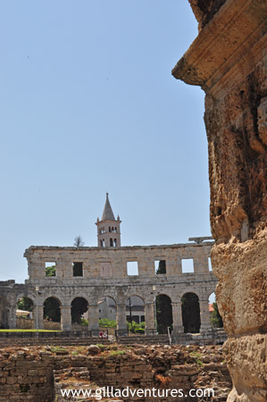 Looking from one end of the Pula Amphitheater to the other.