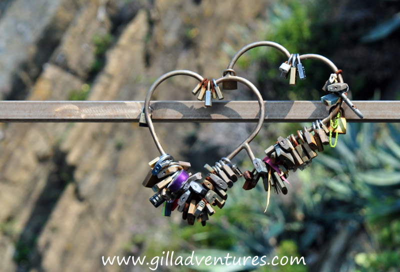 Lovers bring locks to tie their love in the Via dell'Amore. They hang from every fence and gate.