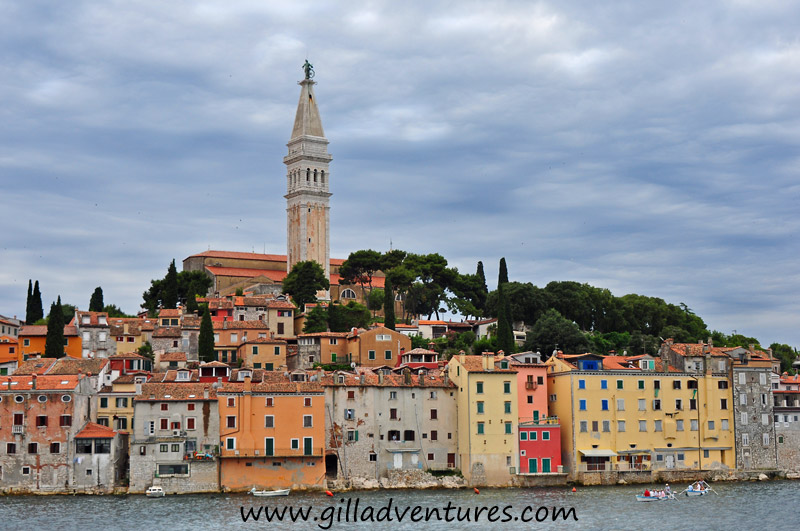 Looking at Rovinj, Croatia from the water. We visited in a boat the other day, and drove up from Pula today. Today it rained, not so great for photos. 
