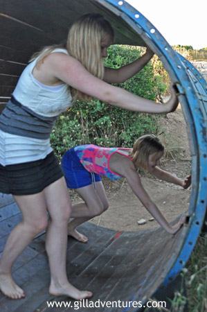 The human sized hamster wheel at the Safari Club Beach Bar on the southern tip of Cape Kamenjak.