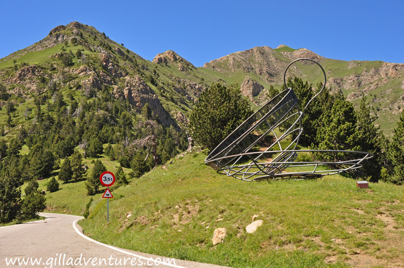At the viewpoint for Alt de la Capa, on a quiet mountain road is this metal sculpture of a cup and saucer. Andorra surprises me at every turn.