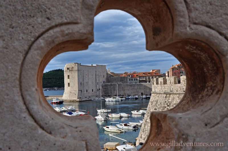 Early morning light on the walls of Dubrovnik, Croatia and its small harbor..