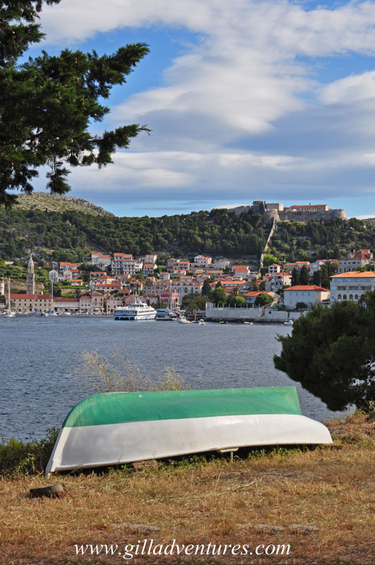Looking across the bay at Hvar Town, from the road near the apartment we rented
