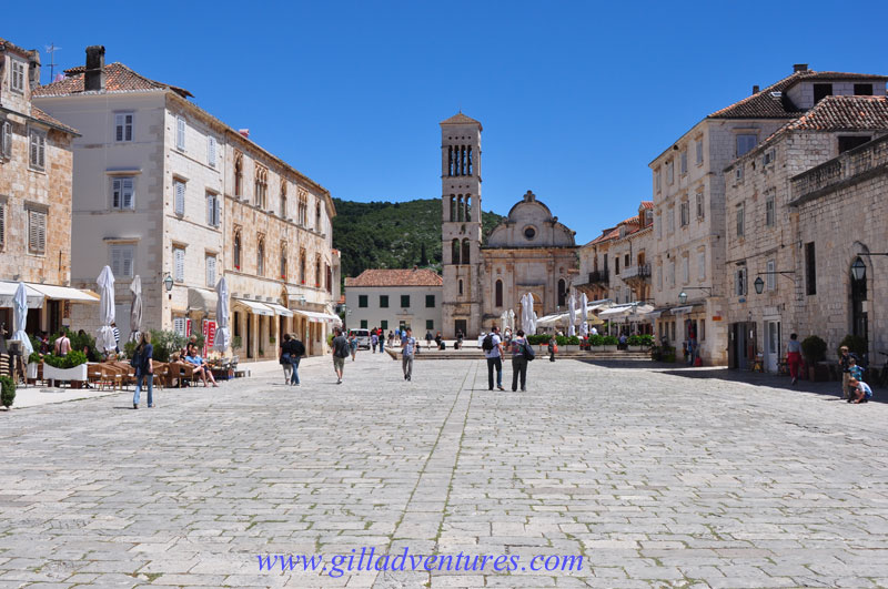 The little town square in the center of the town of Hvar, on the island of the same name