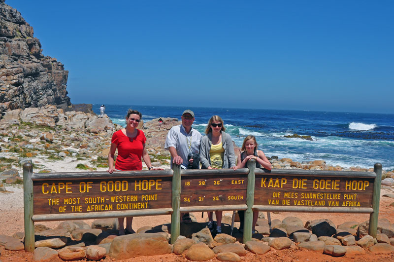 The obligatory tourist photo, the family at the Cape oF Good Hope.