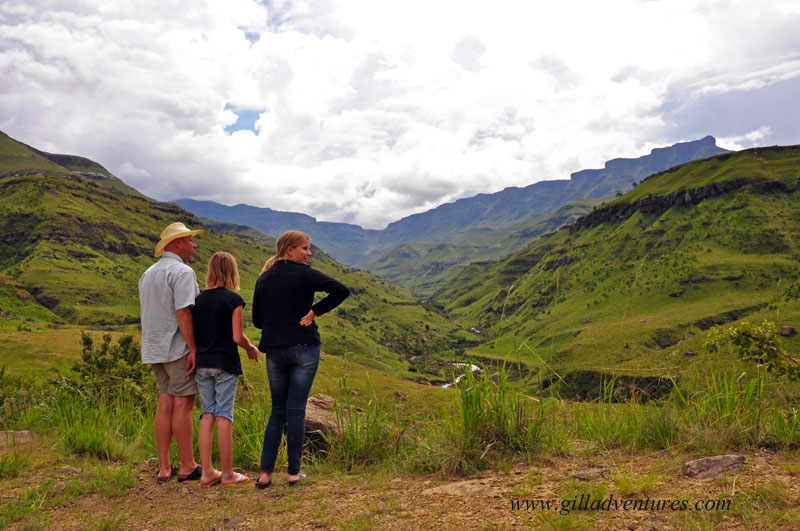 The family looking up at the Sani Pass, which is impassable due to a rock slide.