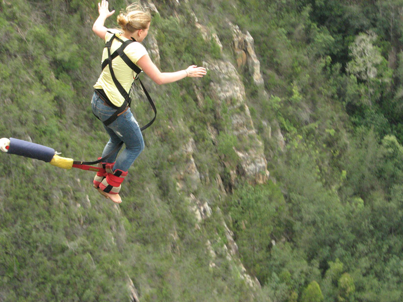 Hannah made it! Jumping into the canyon at Bloukrans Bridge, Tsitsikamma, South Africa, during our trip around the world.