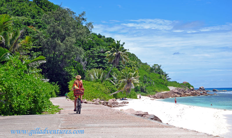 A bike rider on La Digue Island, Seychelles