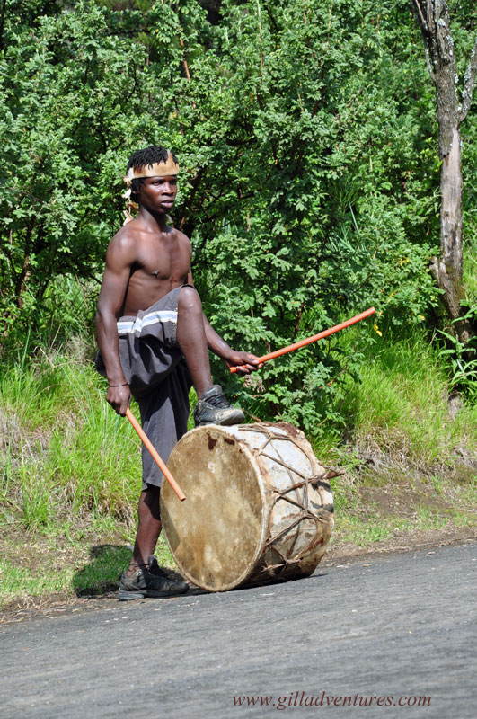 Zulu drummer in KwaZulu Natal, in the Drakensberg, South Africa