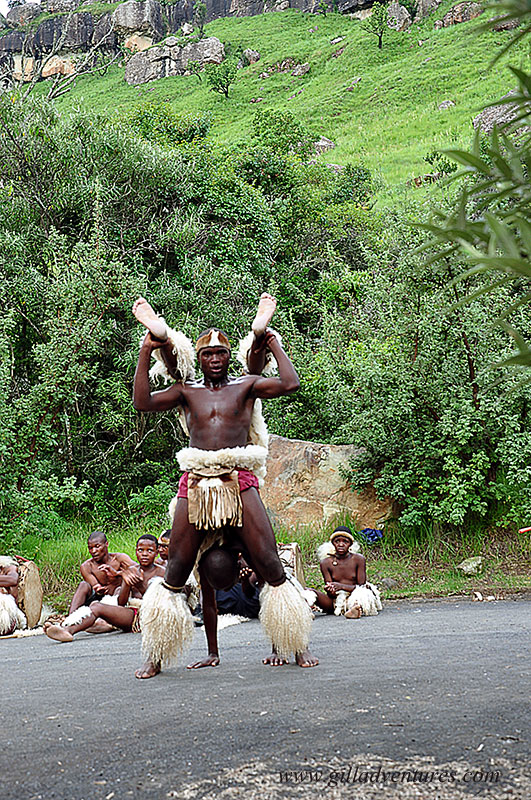 Zulu dancers in the Drakesnberg region of KwaZulu Natal, South Africa