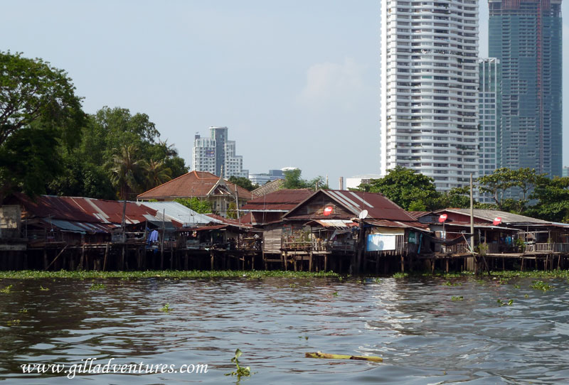 Buildings in Bangkok, Thailand from the river.
