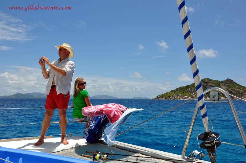 Aboard the catamaran in the Seychelles Islands during our trip around the world.