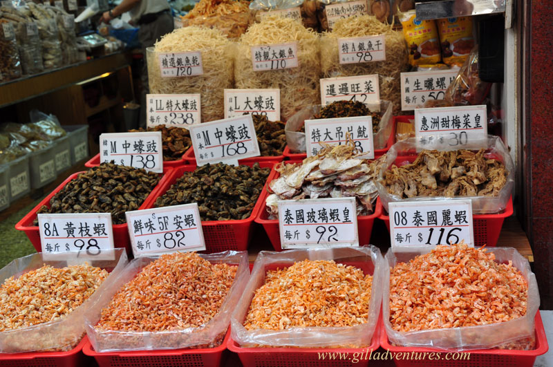 Dried fish products on display in Hong Kong.