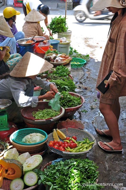 A stall selling produce and eggs in the Hue market, Vietnam. Photo from our trip around the world.