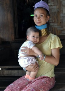 Mother and baby in the hill tribe karen village near mae hong son, thailand, on the myanmar border.