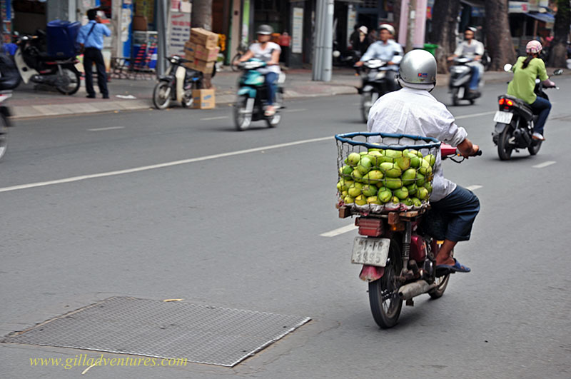 Motorbike carrying mangoes, Ho Chi Minh City, Vietnam