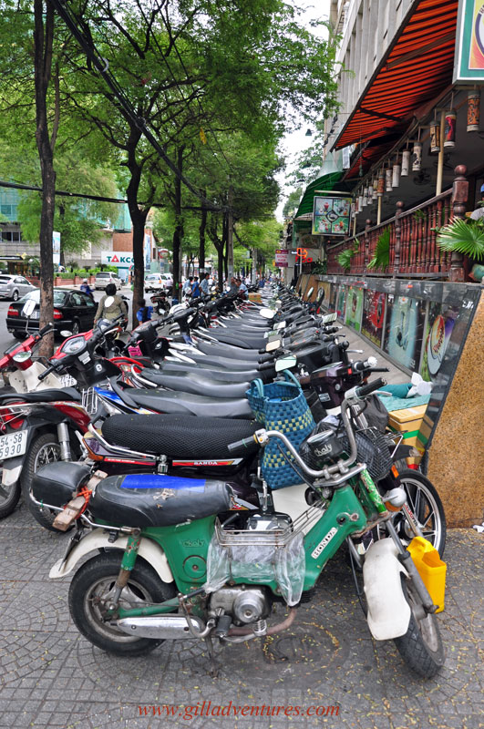 Street parking in Saigon. Lines of motorbikes.