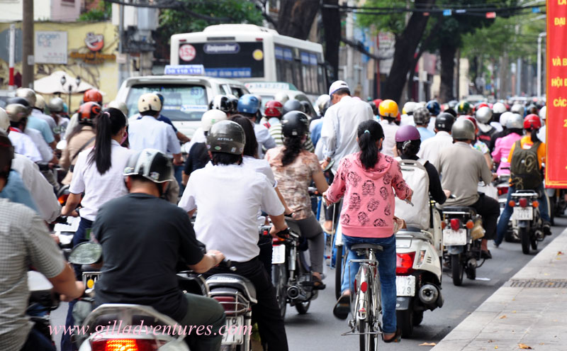 Crowds of scooters and motorbikes on the streets of Ho Chi Minh.