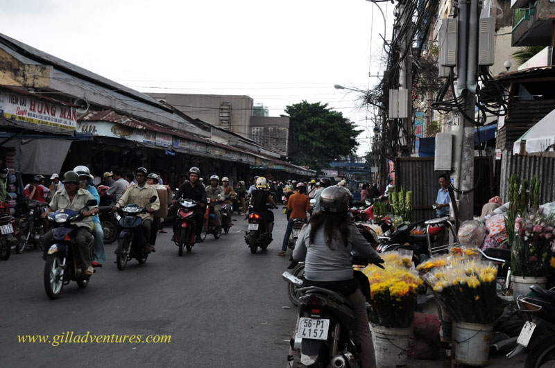 motorbikes at the market in Ho Chi Ming City, Vietnam. photograph taken on our trip around the world with our teen children.