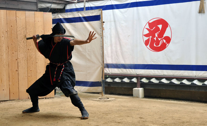 Ninjutsu demonstration in Japan at the Iga-ryu Ninja Museum