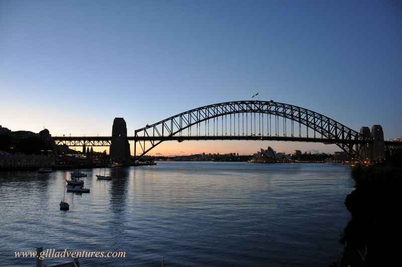 skyline photo of the harbour bridge and opera house in syndey, australia. Photo taken during our trip around the world and posted to our travlogue.