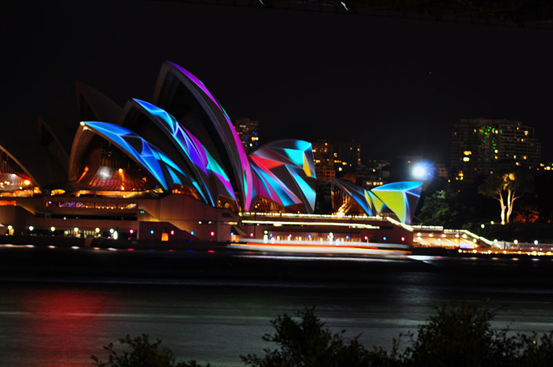 sydney opera house during the vivid festival.